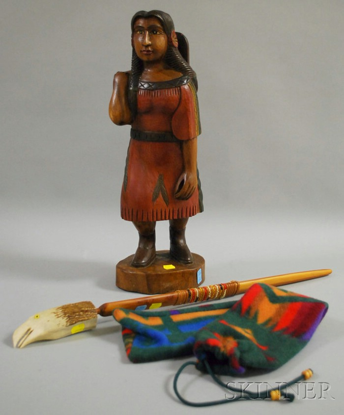 Eagle-head Antler Pipe and a Carving of an Indian with a Child in a Cradleboard