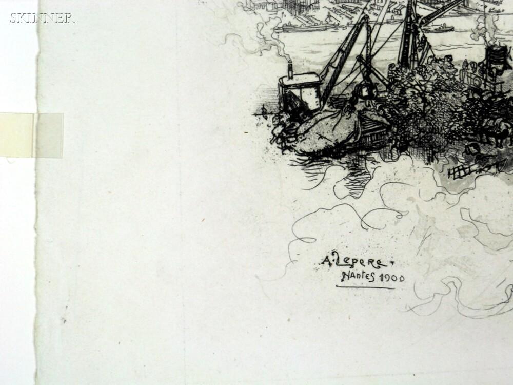 Auguste Louis Lepère (French, 1849-1918)      Two French River Views:  Nantes