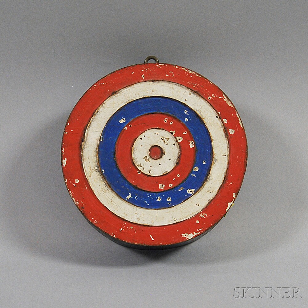 Red-, White-, and Blue-painted Bull's-eye Dart Board
