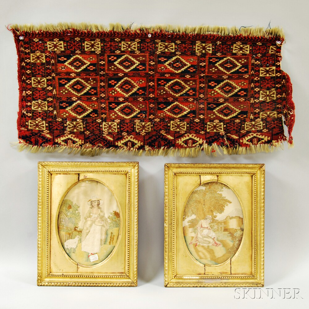 Two Framed Silk and Watercolor Needlework Pictures and a Small Tekke Mat.     Estimate $100-150