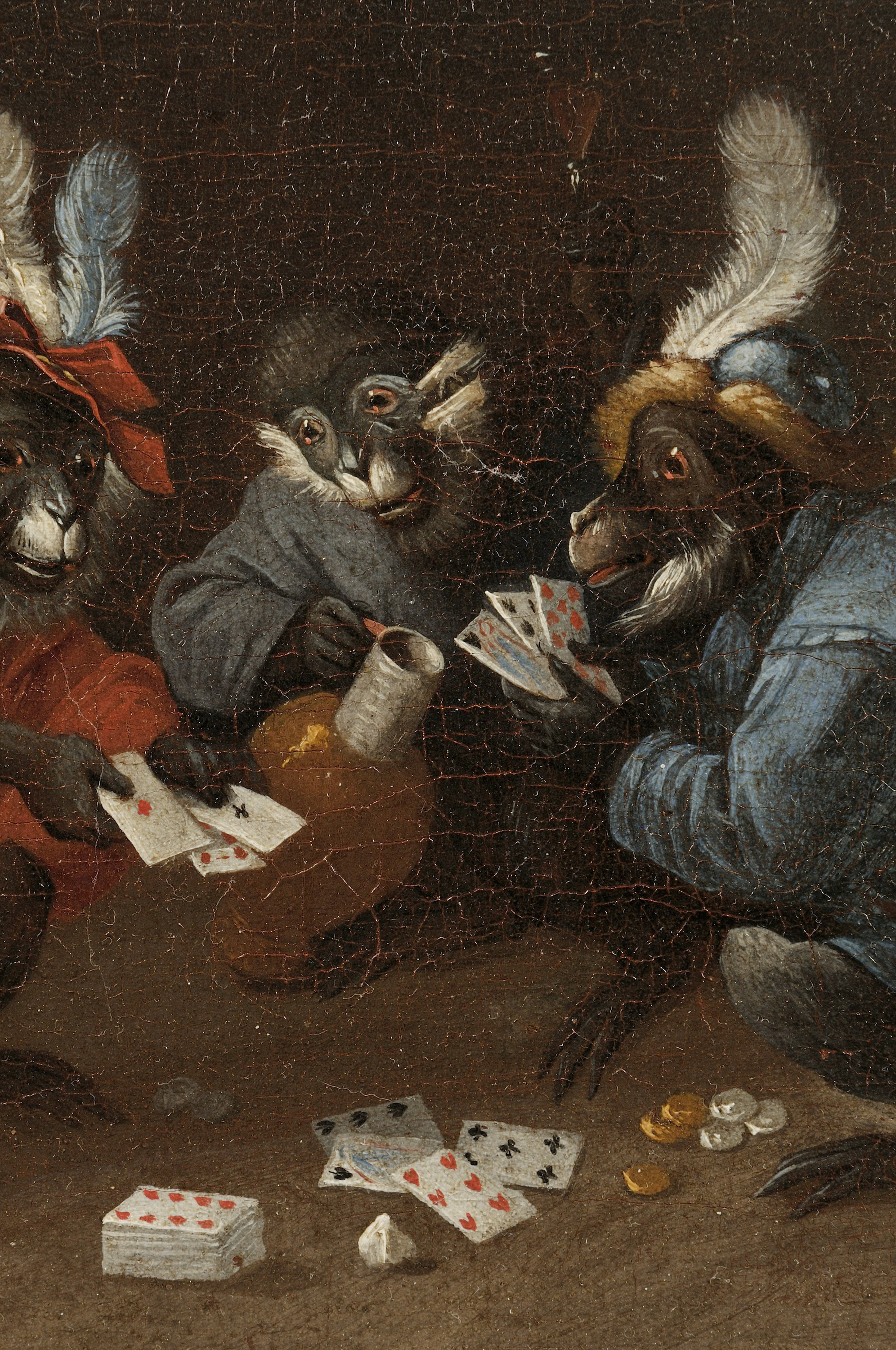 After David Teniers the Younger (Flemish, 1610-1690)      Four Monkeys Drinking, Smoking, and Playing Cards