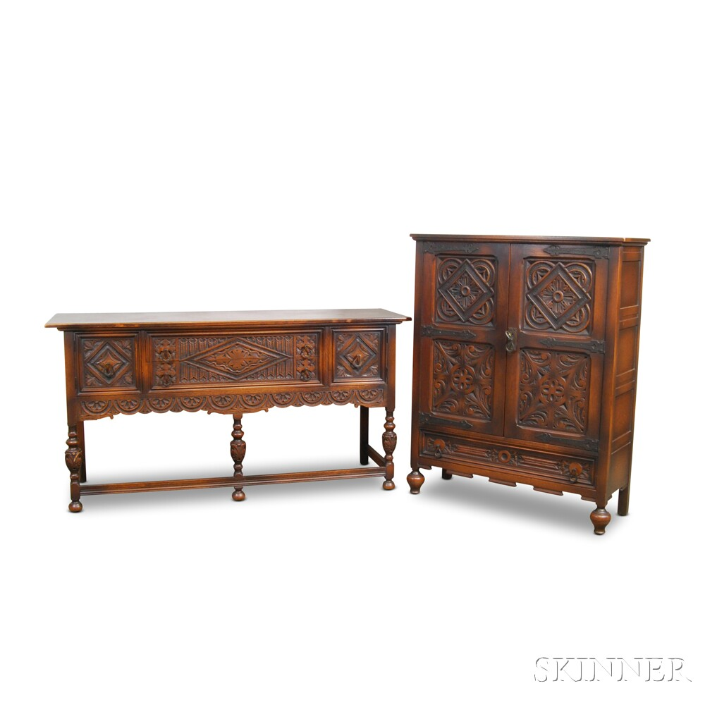Nine-piece Jacobean-style Carved Oak Dining Room Suite