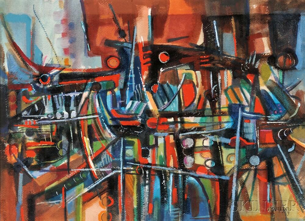 Osvaldo Gutierrez (Cuban, 1917-1997)      Abstract Cityscape