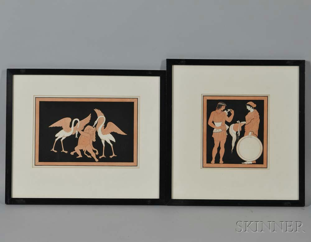 British School, 18th Century      Two Engravings on Mythological Themes in the Red-Figure Style