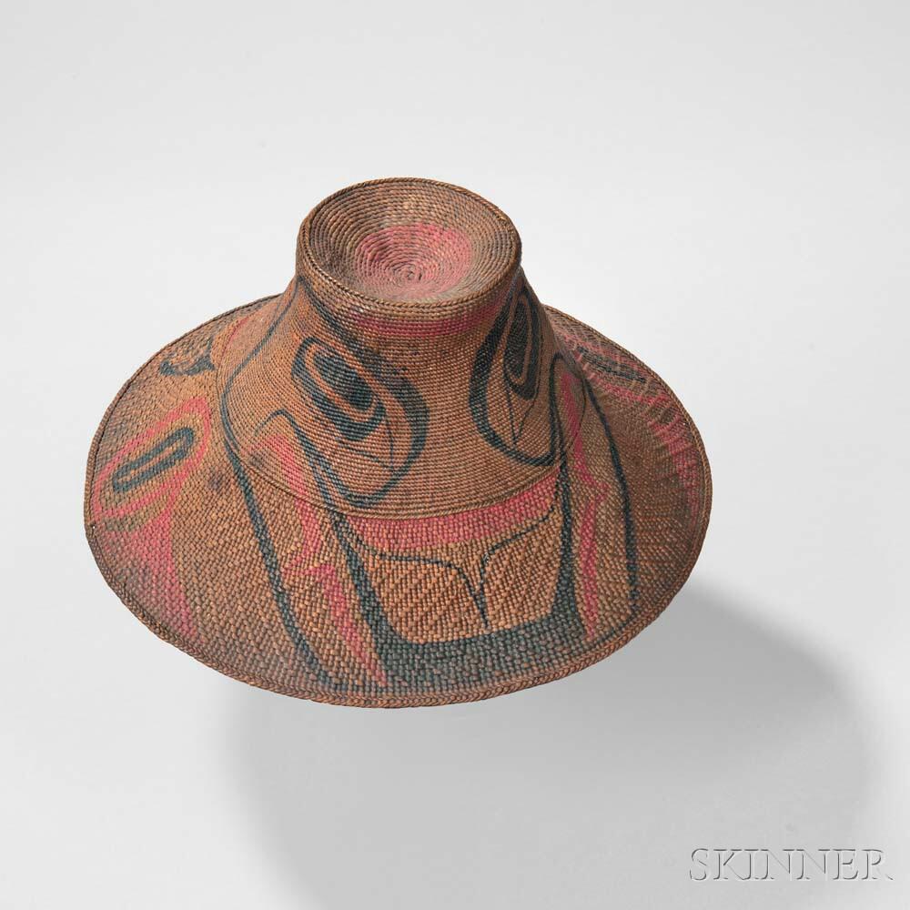 Rare Haida Child's Spruce Root Basketry Hat