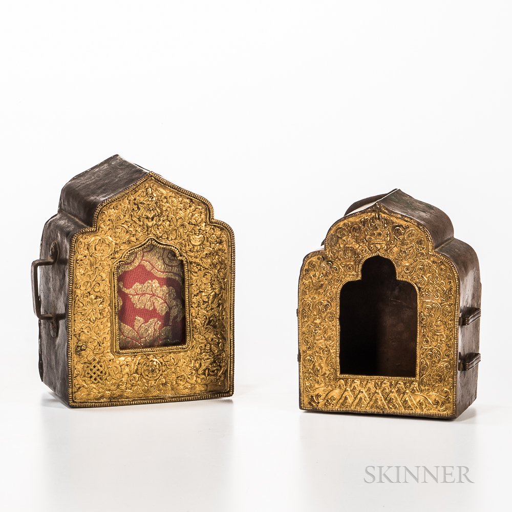 Two Copper/Brass Gau   Amulet Boxes