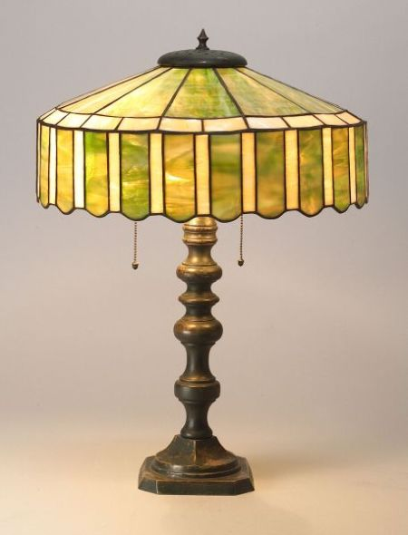 Arts & Crafts  Slag glass and bronze table lamp