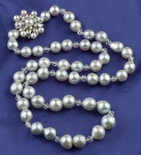 South Sea Pearl, Diamond and Rock Crystal Bead Necklace
