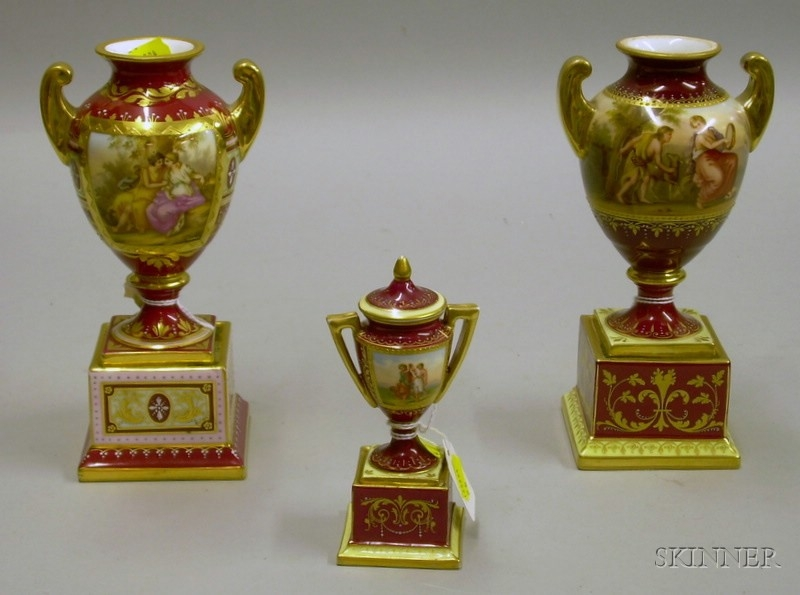 Three Royal Vienna Hand-painted Genre Scene Decorated Porcelain Vases