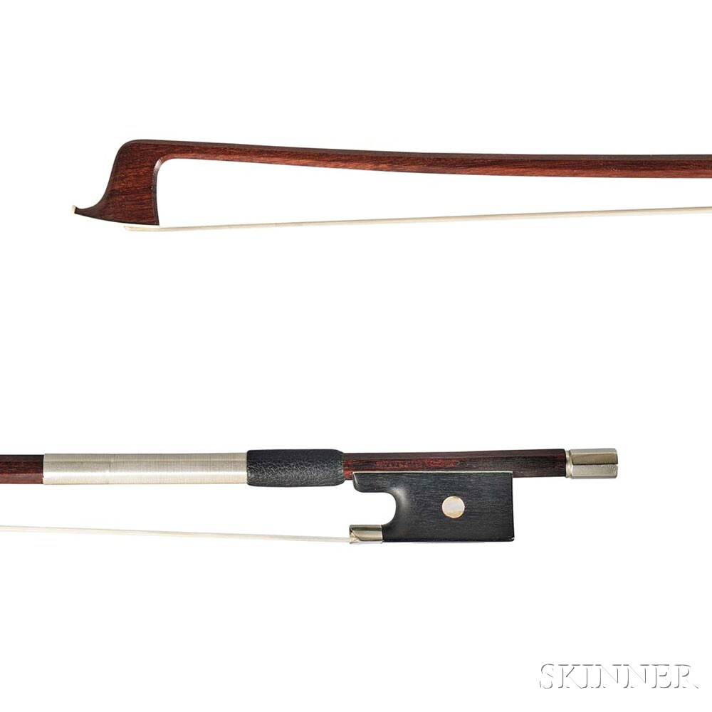 French Nickel-mounted Violin Bow, Claude Thomassin