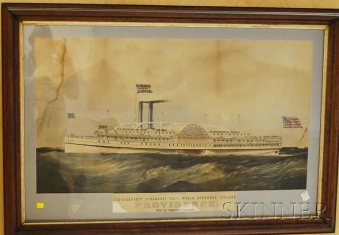 Endicott & Co. Hand-colored Lithograph Narragansett Steamship Co.'s World