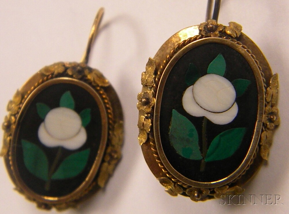 14kt Gold and Pietra Dura Suite