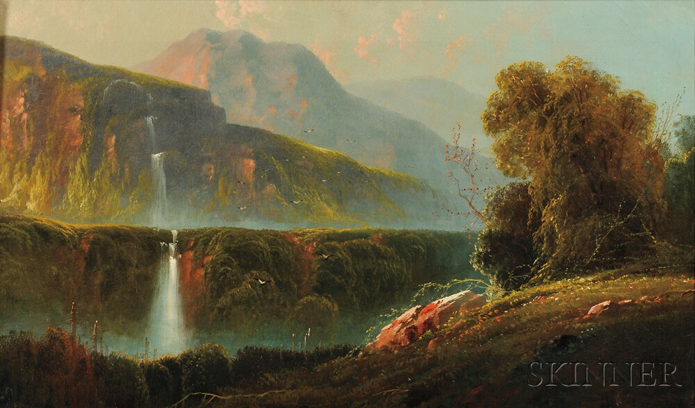 William Louis Sonntag (American, 1822-1900)      Landscape with Waterfall