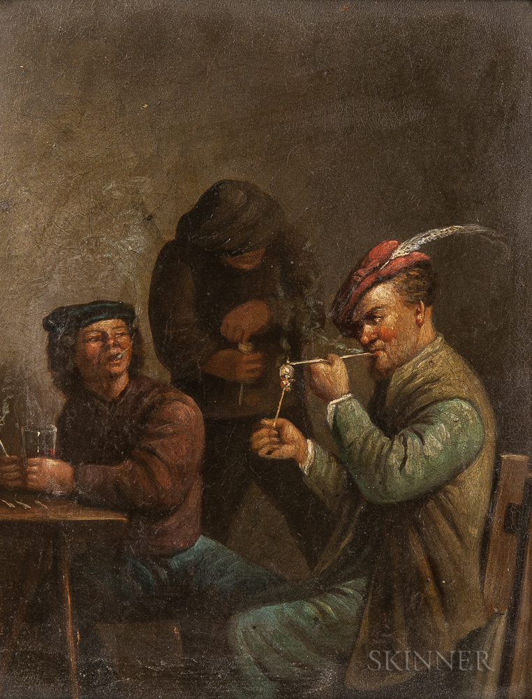 Manner of David Teniers the Younger (Dutch, 1610-1690)      Two Tavern Scenes with Men Smoking Pipes