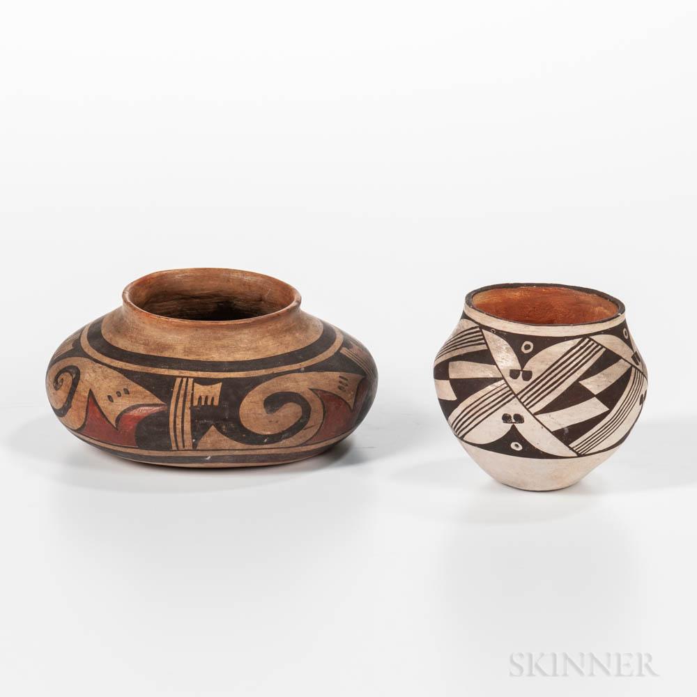 Two Southwest Polychrome Pottery Vessels