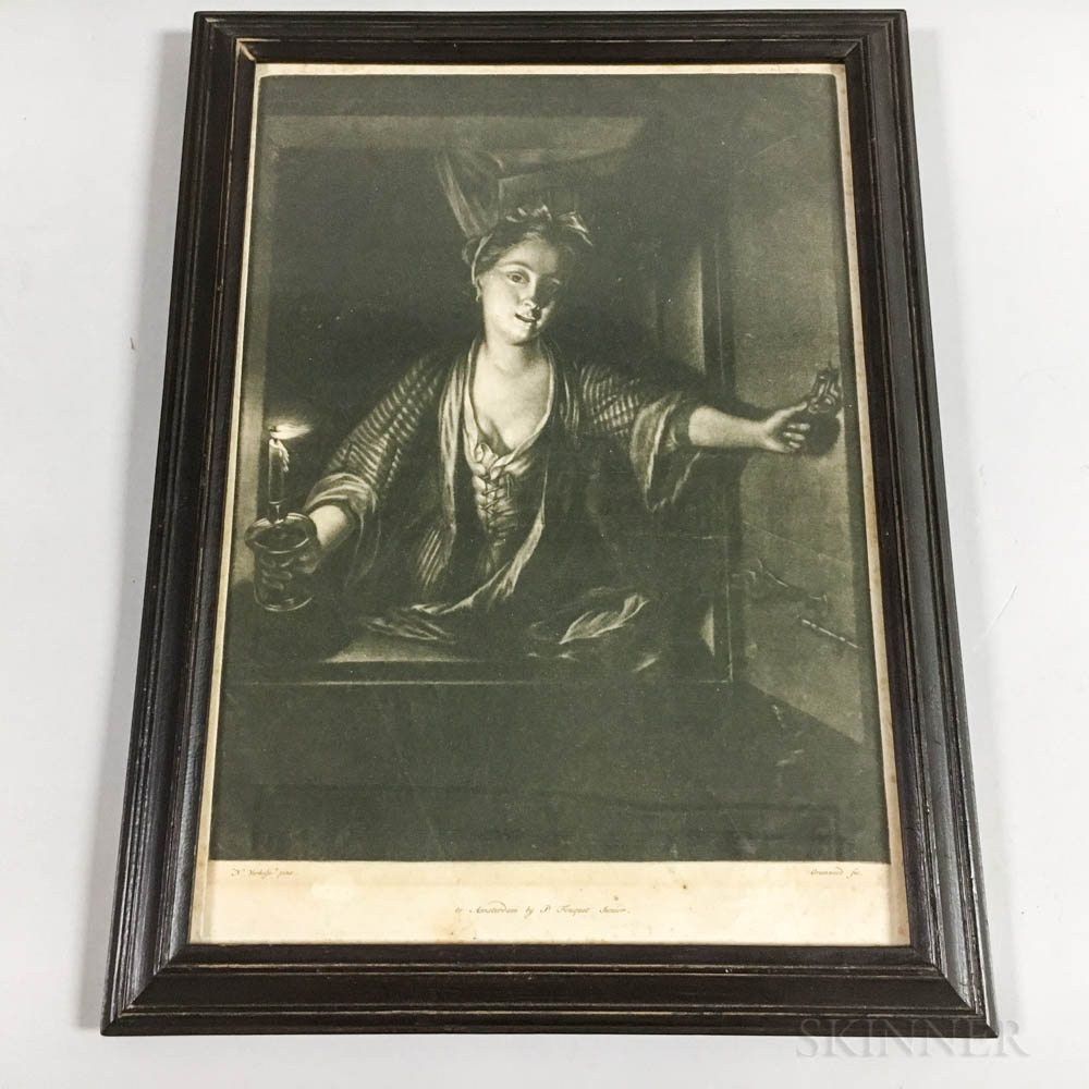Framed Greenwood Mezzotint of a Woman