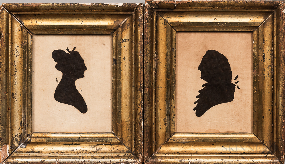 Pair of Silhouettes of a Man and Woman