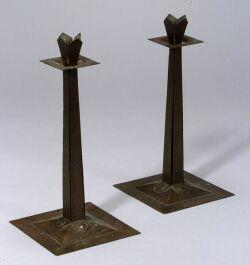 Pair of Gustav Stickley Craftsman Workshop Candlesticks