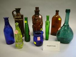 Approximately Thirty Colored and Colorless Glass Bottles, Canning Jars, Etc.