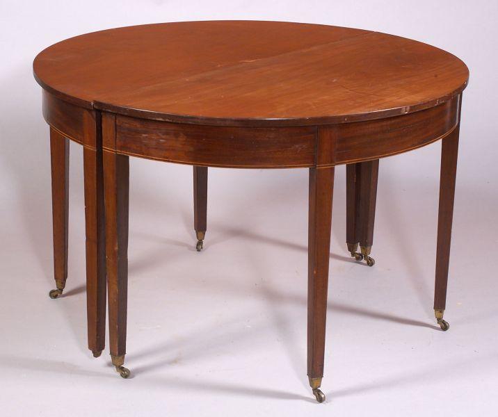 Late Federal Inlaid Mahogany Banquet Table