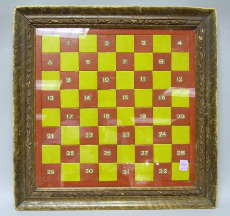 Framed Yellow and Red Checked and Numbered Game Board.