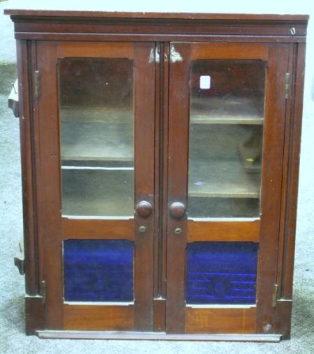 Victorian Walnut Two-Door Wall Cabinet.