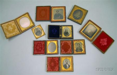 Nine Cased Early Portrait Photographs