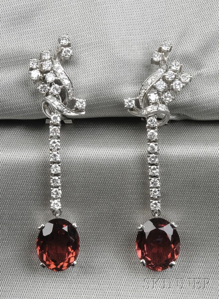 18kt White Gold, Pink Tourmaline, and Diamond Earpendants, H. Stern