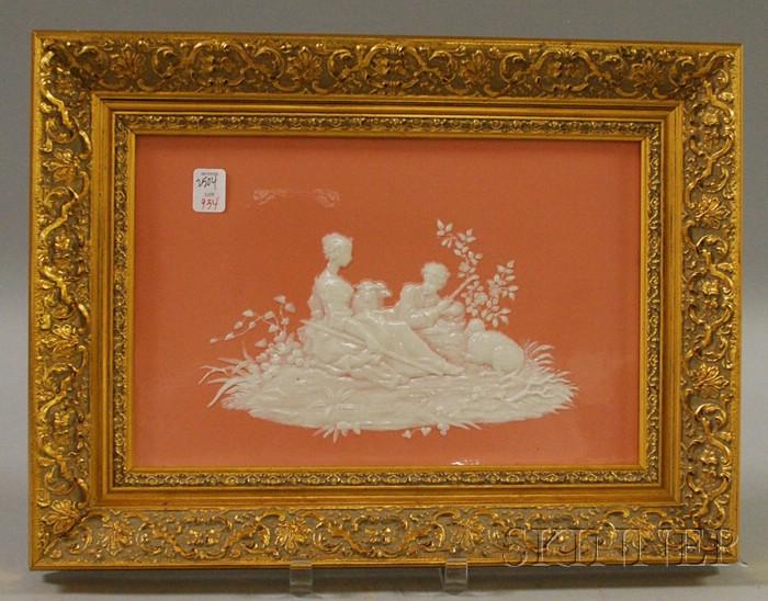 Framed Sevres Pate sur Pate Pink Porcelain Plaque