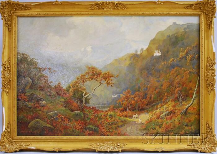 David Hewitt (British, fl. 1902-1912)      Autumn Landscape with Sheep.
