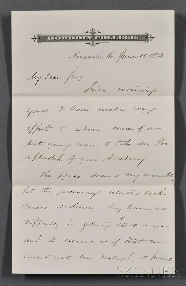 Chamberlain, Joshua (1828-1940) Autograph Letter Signed, 15 June 1872.
