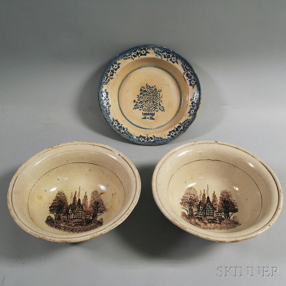 Three Tin-glazed Earthenware Bowls