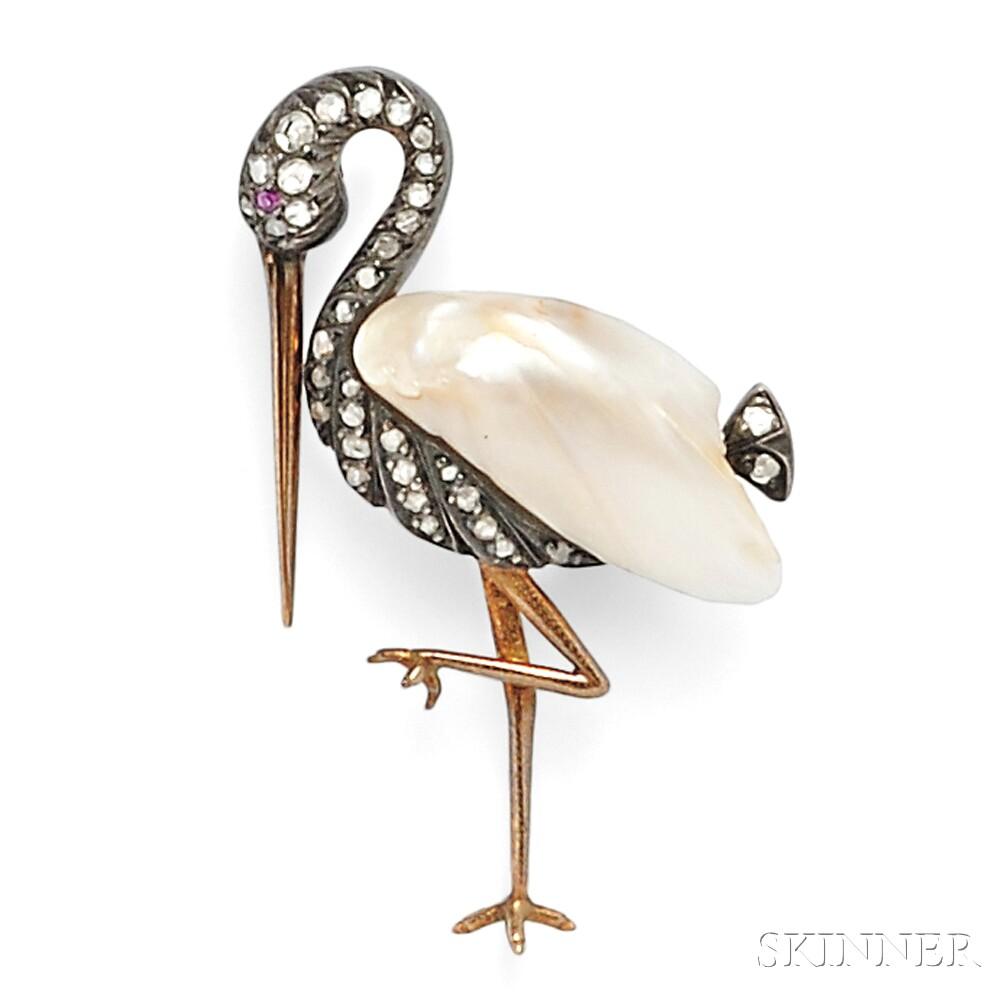 Baroque Pearl and Diamond Brooch