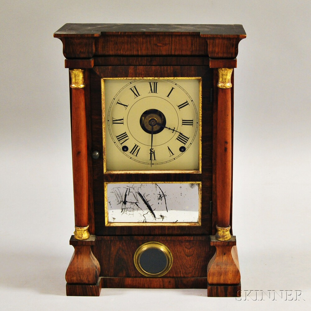 Seth Thomas Rosewood Shelf Clock and a Cased and Brass-mounted Toiletry Set