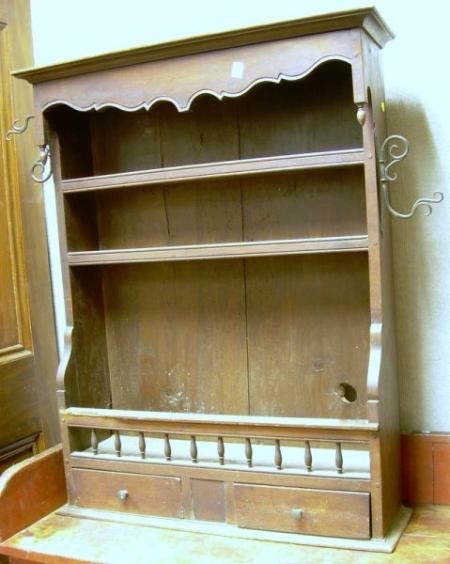 Diminutive European Provincial Fruitwood and Pine Wall Shelf with Iron Hardware.