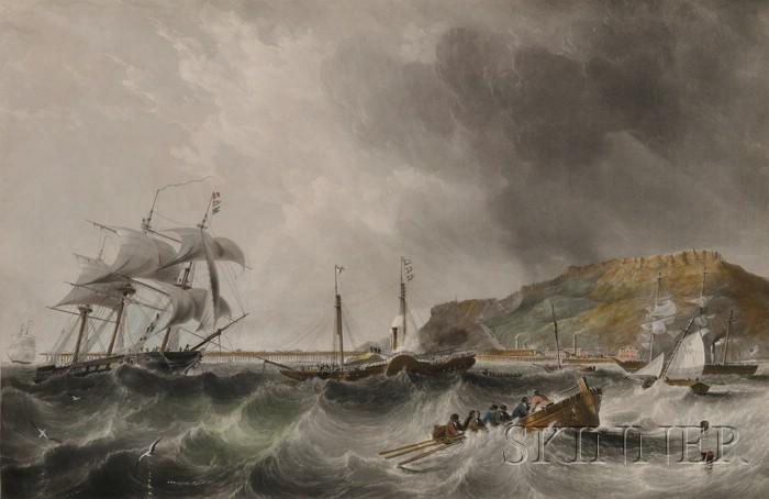 Charles Mottram (British, 1807-1876) Engraver, After John Wilson Carmichael      (British, 1800-1868)  Off Portland.