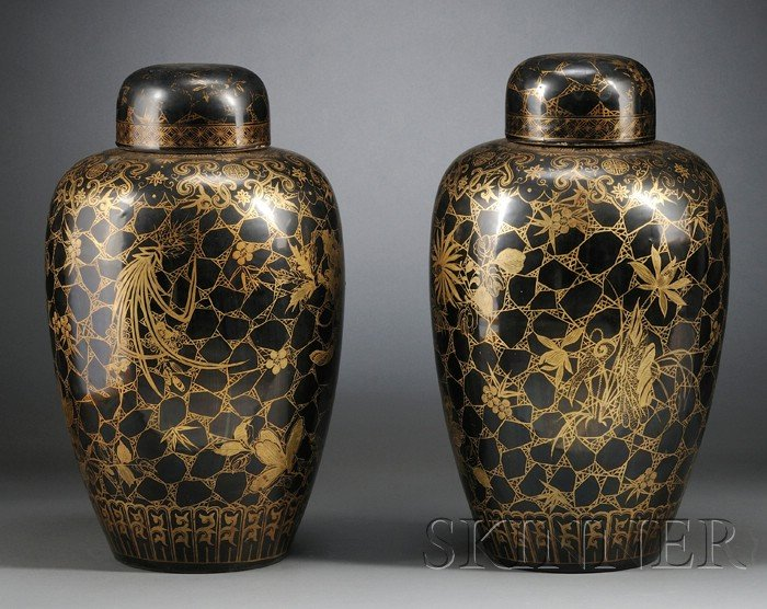 Pair of Black Glazed and Gilt Covered Jars