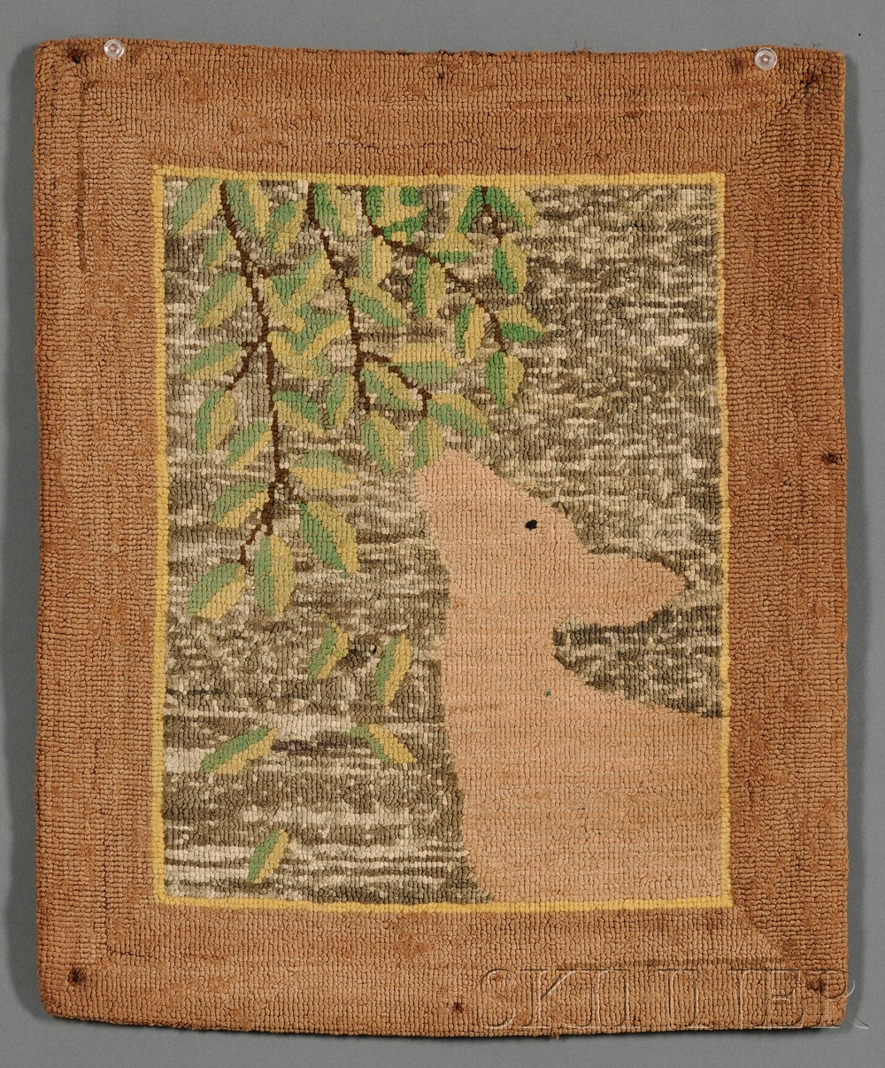 Grenfell Pictorial Hooked Mat with Deer and Leaves