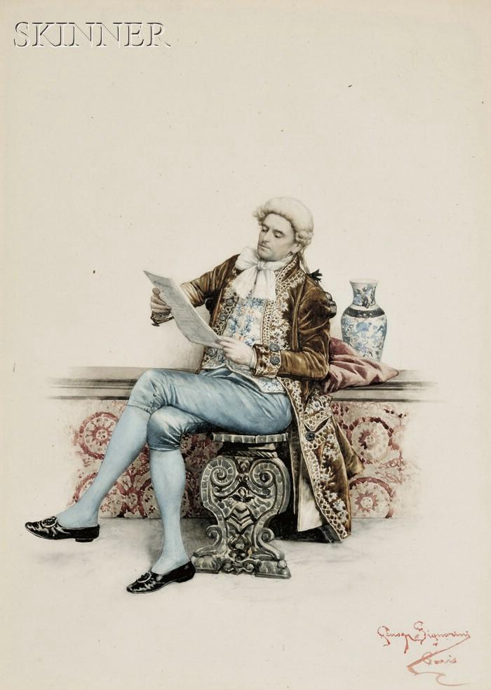 Giuseppe Signorini (Italian, 1857-1932)      Gentleman Reading