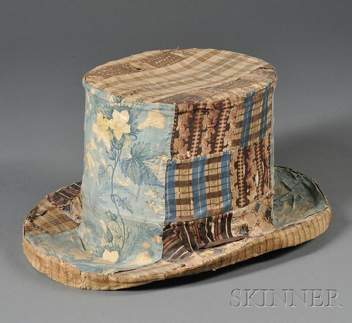 Pieced Cotton Patchwork Covered Papier-mache Top Hat