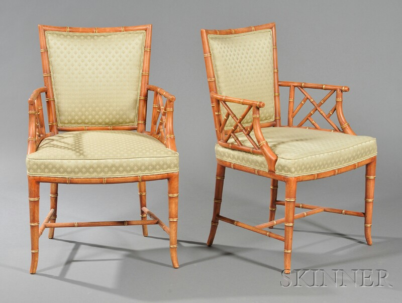 Two Karges Faux Bamboo Frame Armchairs