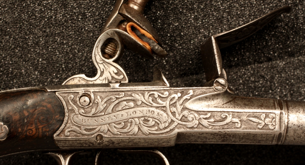 Boxlock Double Barrel Flintlock Pistol