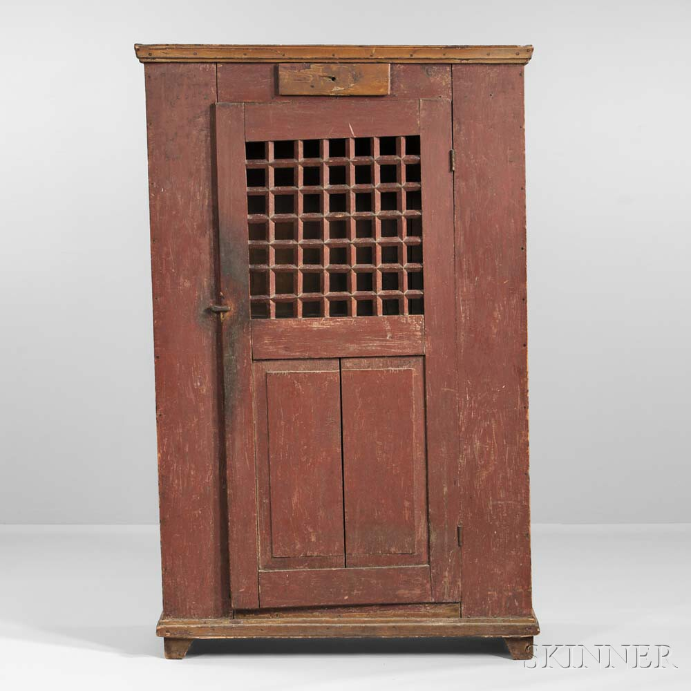 """Red-painted Pine """"Jail"""" Cupboard"""