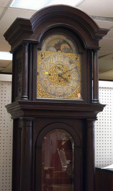 Shreve, Crump & Low Georgian-style Mahogany Chiming Tall Case Clock