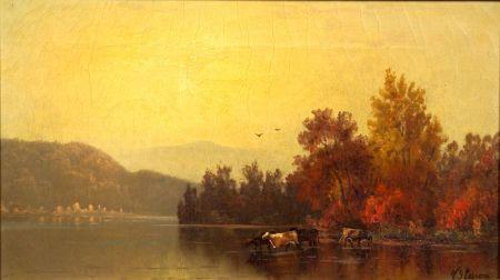 American School, 19th Century    Cattle Watering, Autumn