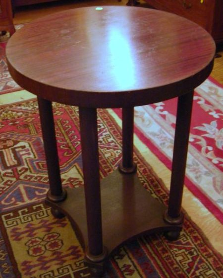 Empire-style Mahogany and Mahogany Veneer Round Center Table