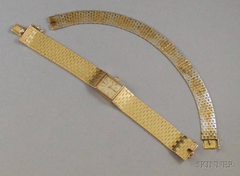 Lady's 14kt Gold Movado Bracelet Wristwatch and a Continental 14kt Gold Bracelet