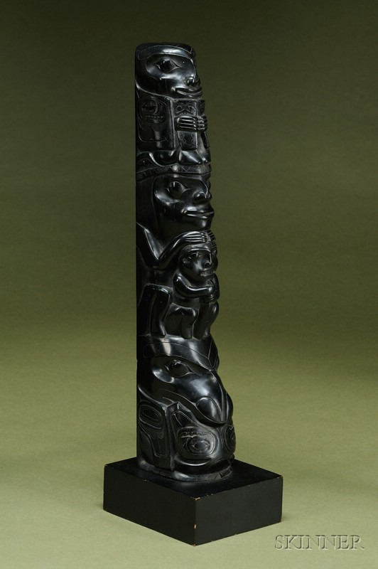 Northwest Coast Carved Argillite Totem Pole
