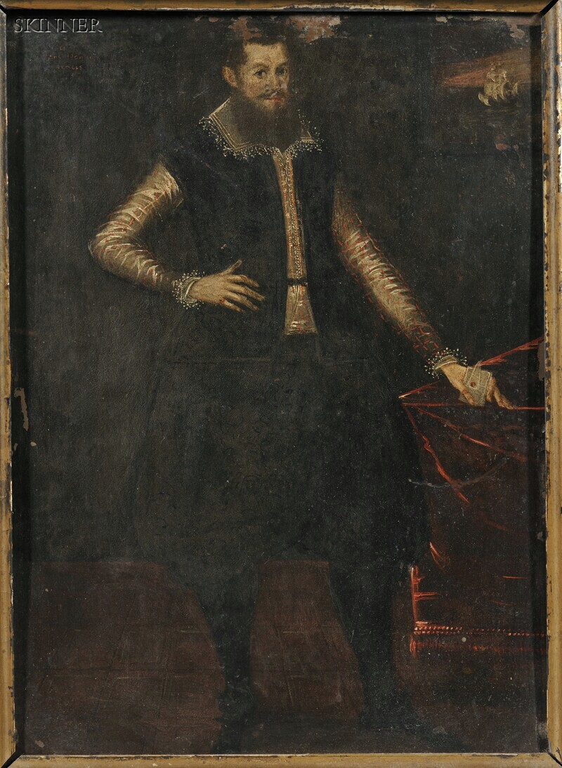 British School, 19th Century      Standing Portrait of a Gentleman in 16th Century Costume
