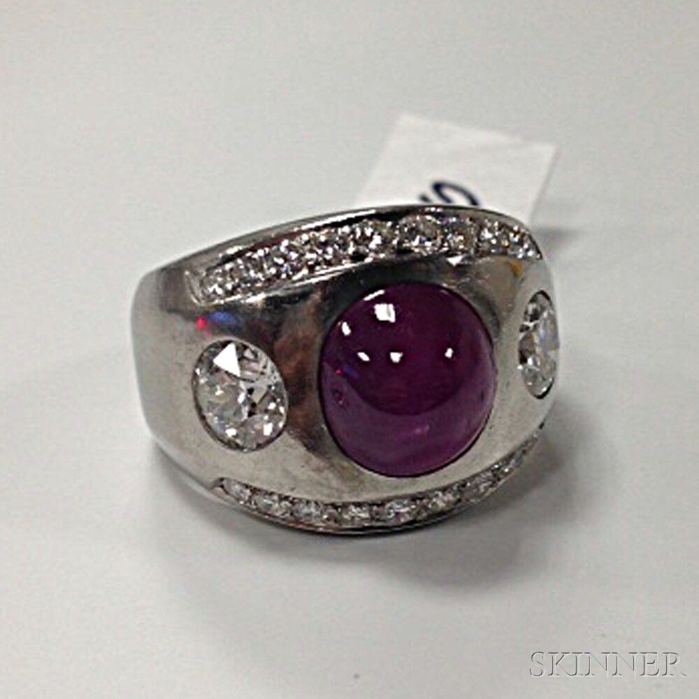 Platinum, Star Ruby, and Diamond Ring